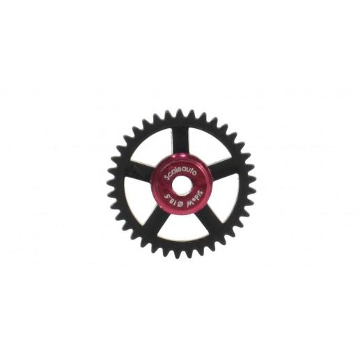 "Scaleauto SC-1147 Nylon Spur Gear 37th. For 3/32"" Axle M50. diameter 18,5mm red insert (black)"