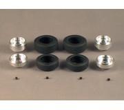 Proto Slot-Kit SR15 Set of 2 Wheels Alu 14x5.5mm + 2 Tires 20x7mm + 2 Wheels Alu 14x7.5mm + 2 Tires 22x9mm + 4 Screws