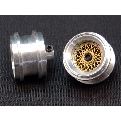 "front wheels Aluminum hubs type ""BBS gold"" for Porsche 962 / Toyota 88C  with M3 grab screws (2x)"