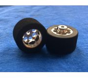 rear wheel hubs + inserts with sponge tires for wooden track - 25x16,5 (2x) glued - NO INSERTS