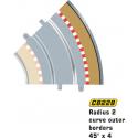 Scalextric C8228 Radius 2 Curve Outer Borders 45° (4 pcs)