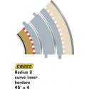 Scalextric C8225 Radius 2 Curve Inner Borders 45° x4