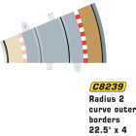 Scalextric C8239 Bordures Extérieures Courbe Radius 2 22.5° (4 pcs)