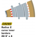 Scalextric C8280 Bordures Intérieures Courbe Radius 2 22.5° x4