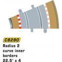 Scalextric C8280 Radius 2 Curve Inner Borders 22.5° (4 pcs)
