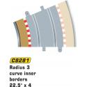 Scalextric C8281 Bordures Intérieures Courbe Radius 3 22.5° x4