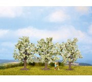NOCH 25511 Fruit Trees, white, 3 pieces, 4.5 cm high