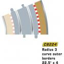 Scalextric C8224 Bordures Extérieures Courbe Radius 3 22.5° x4