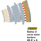 Scalextric C8224 Radius 3 Curve Outer Borders 22.5° x4