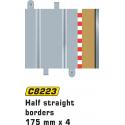 Scalextric C8223 Bordures Demi Droite 175mm (4 pcs)