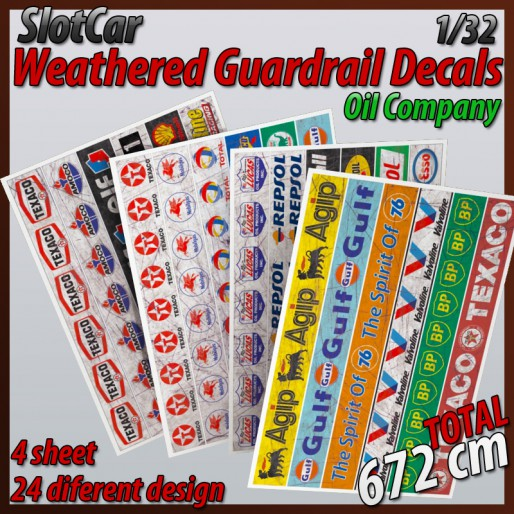 "MHS Model GAW-1 Weathered Guardrail Decals ""Oil Company"""