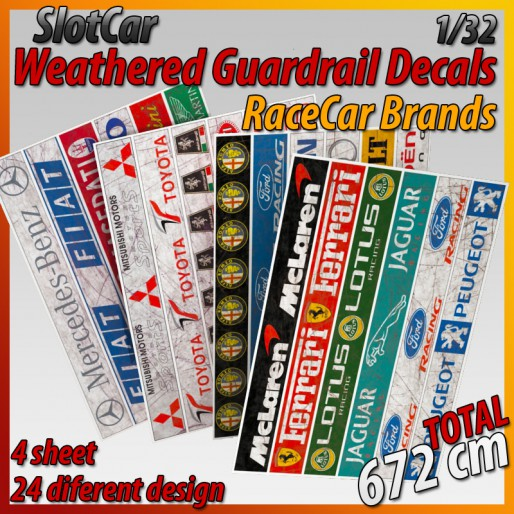 "MHS Model GAW-7 Weathered Guardrail Decals ""RaceCar Brand"""