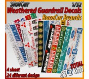 "MHS Model GAW-7 Weathered Guardrail Decals ""RaceCar Brands"""