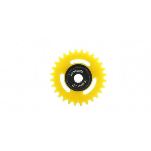 "Scaleauto SC-1168 Nylon Anglewinder Gear 28th. For 3/32"" Axle M50.15,8mm SIT -Black insert (yellow)"
