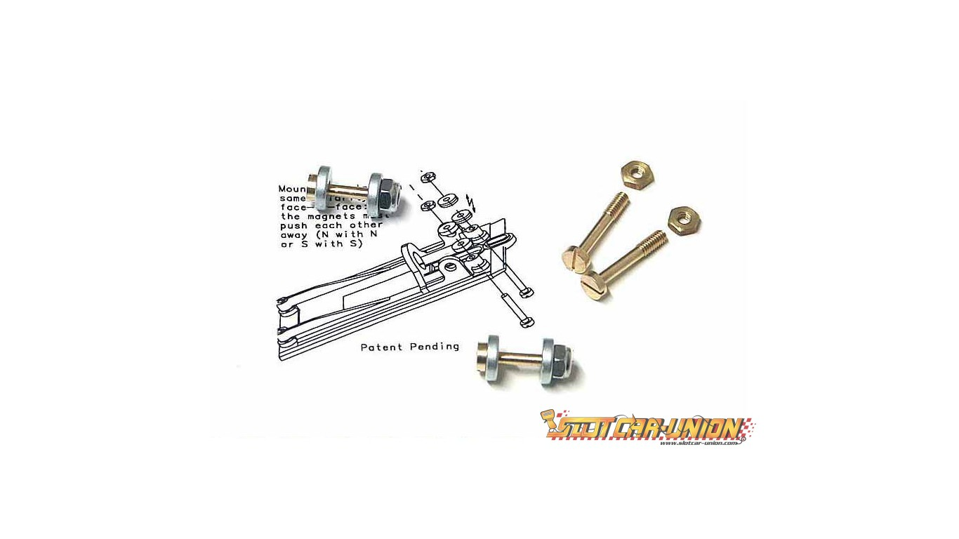 Top 4 Differences Between American Flyer Trains And Lionel Trains furthermore 1380 Slotit Ch09 Mag ic Suspension Kit 8032927628625 together with 5262 Nsr 1229 Medium Suspension For Triangular Motor Support together with Carrera 25223 Dust Up Race Setpreorder Now P 17886 further Race Cars Your Living Room January 1962 American Modeler. on 1 32 slot car sets