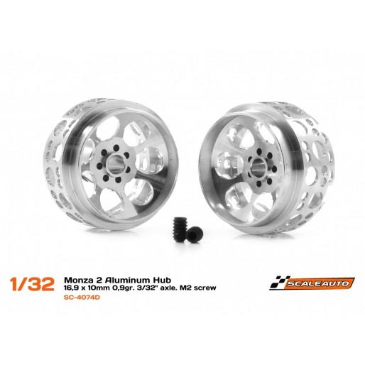 "Scaleauto SC-4074D Monza 2 Aluminum Hub 16,9 x 10mm 0,9gr. 3/32"" axle. M2 screw"