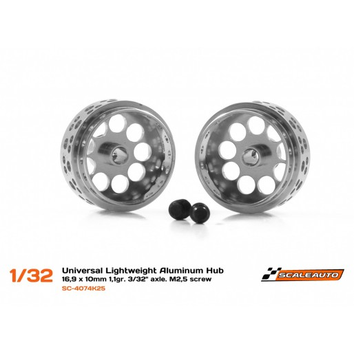 "Scaleauto SC-4074K25 Universal Lightweight Aluminum Hub 16,9 x 10 mm 1,1gr. 3/32"" axle. M2,25 screw"