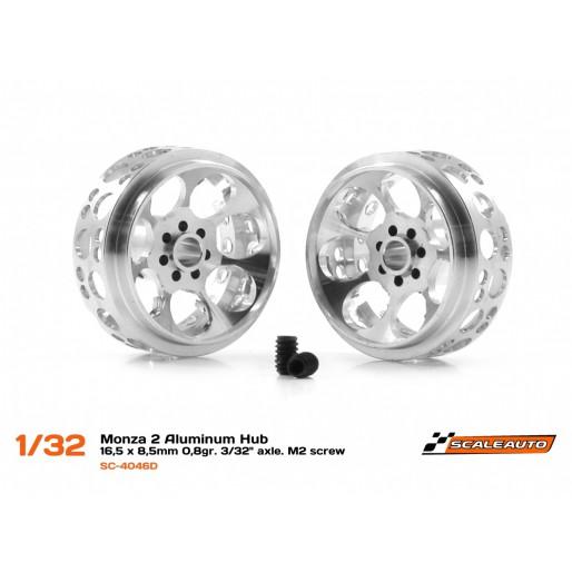 "Scaleauto SC-4046D Monza 2 Aluminum Hub  -  16,5 x 8,5 mm 0,8gr. 3/32"" axle. M2 screw"