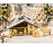 NOCH 14394 Crèche de marché de Noël avec figurines d'aspect bois
