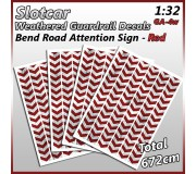 MHS Model GA-4 Bend Road Guardrail Decals (Red)