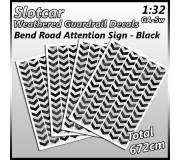 MHS Model GAW-5 Weathered Bend Road Guardrail Decals (Black)