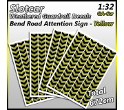 MHS Model GAW-6 Weathered Bend Road Guardrail Decals (Yellow)