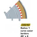 Scalextric C8240 Bordures Extérieures Courbe Radius 1 45° x4
