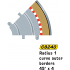 Scalextric C8240 Radius 1 Curve Outer Borders 45° x4