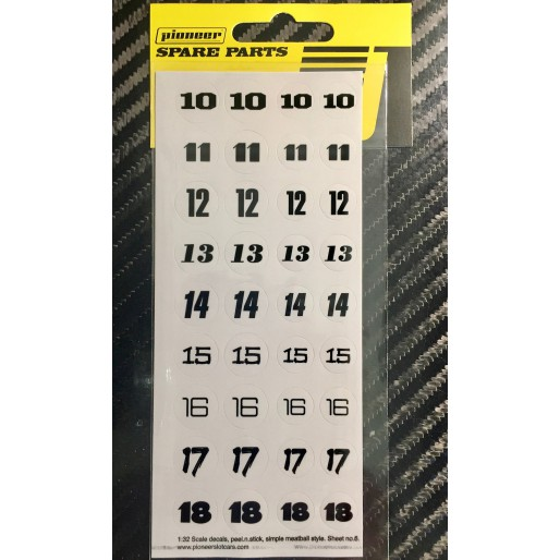 Pioneer DS202716 Racing Numbers (10-18) sticker sheet No 6