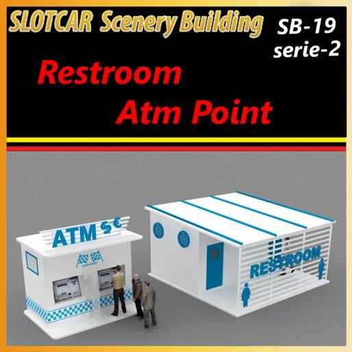 MHS Model SB-19s2 Raceway Detail Set -2 Restroom and Atm Point