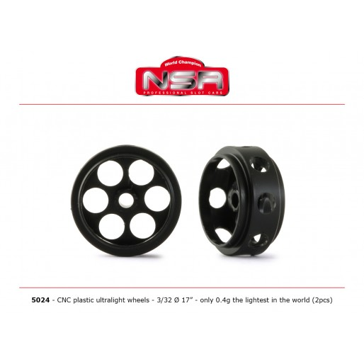 NSR 5024 3/32 CNC Plastic Ultralight Wheels - Front Ø 17mm - only 0.4g the lightest in the world