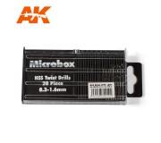 AK Interactive AK9015 Microbox HSS Drill Bits 20 units (0.3 -1.6mm)