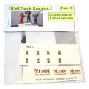 Slot Track Scenics Dec. 3 Decals étiquette de Champagne