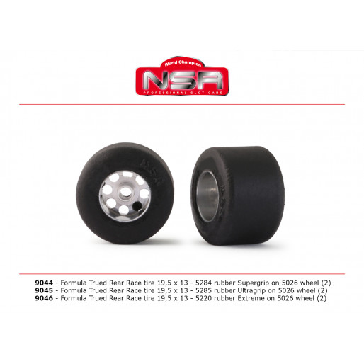 NSR 9044 3/32 Formula trued rear race tire SUPERGRIP 19,5x13