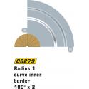 Scalextric C8279 Radius 1 Curve Inner Borders 180° x2