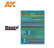 Doozy DZ035 Décalcomanies Panneaux de Carburant Assortis