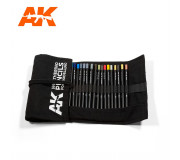 AK Interactive AK10048 Weathering Pencils Full Range Cloth Case