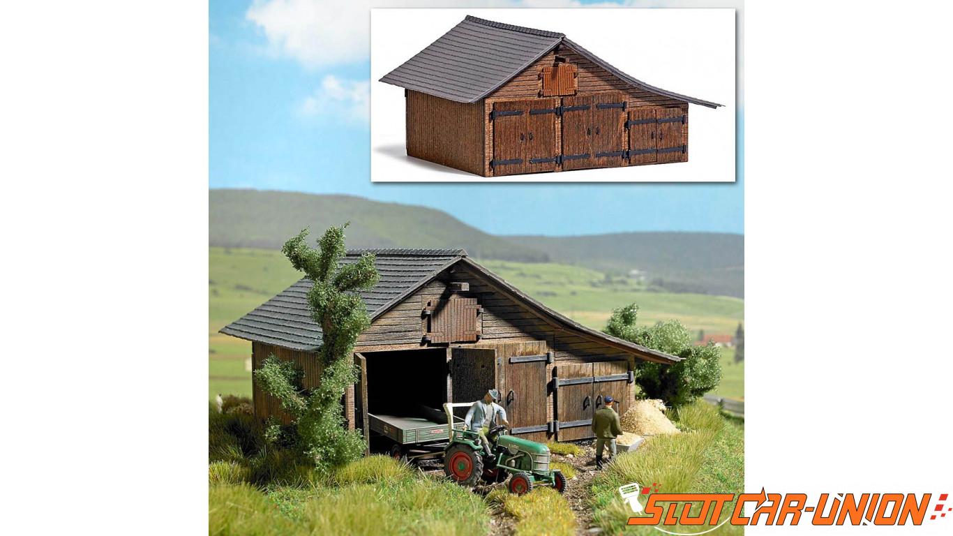 Busch 1508 grange en bois slot car union for Grange bois en kit