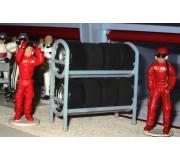 Slot Track Scenics Rayonnage de Pneus avec 8 roues et pneus