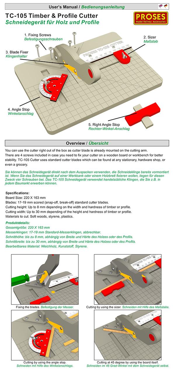 PROSES TC-105 Massicot de coupe droite et angle pour modéliste