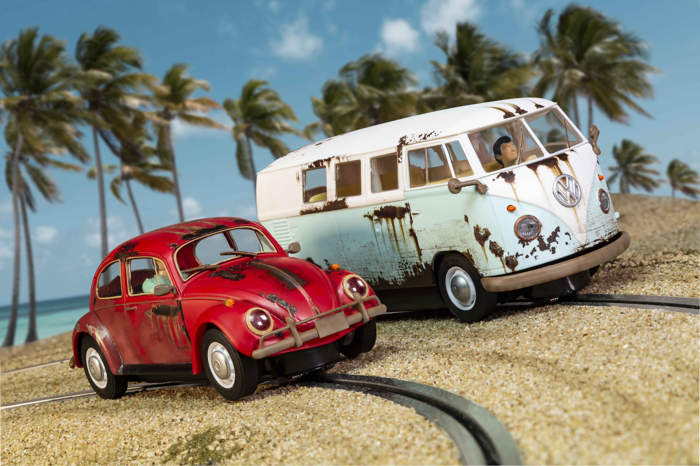 Scalextric C3966A Legends Rusty Rides Volkswagen Beetle & T1B Camper Van - Limit