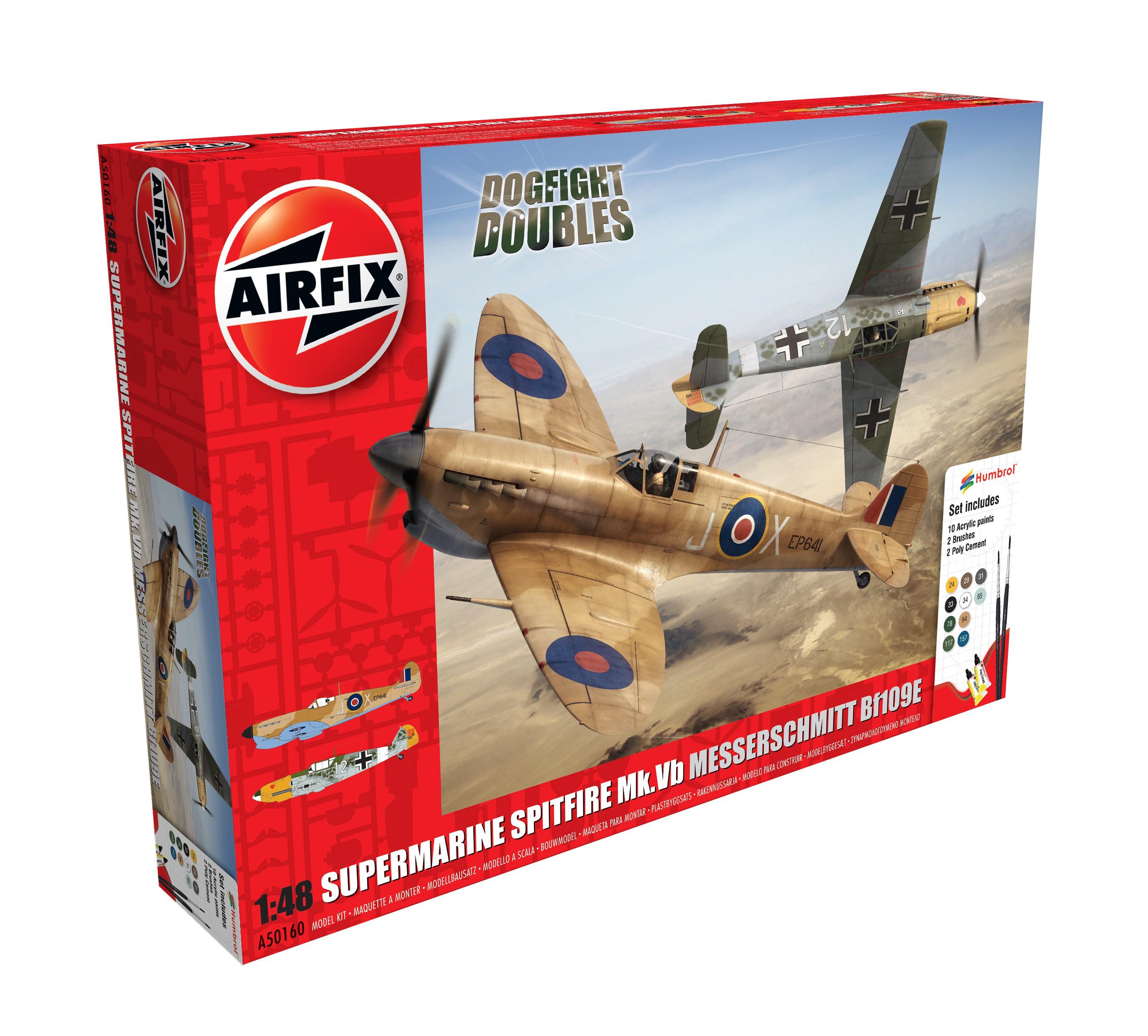 Airfix Doubles Coffret Cadeau Supermarine Spitfire MkVb Messerschmitt Bf109E Hund